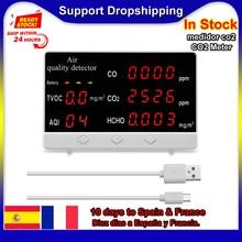 Multi-function Digital Display Indoor/Outdoor CO CO2 HCHO TVOC Detector co2 meter High