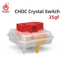 Kailh Choc переключатель с красным кристаллом, низкопрофильный переключатель, шоколадный механический переключатель клавиатуры, RGB SMD белый сте...