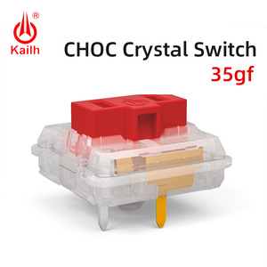 Image 1 - Kailh Choc Red Crystal Switch low profile Switch Chocolate Mechanical Keyboard Switch RGB SMD white stem linear hand feeling