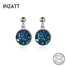 INZATT Real 925 Sterling Silver ROUND Pendant Stud Earrings For Fashion Women Pa