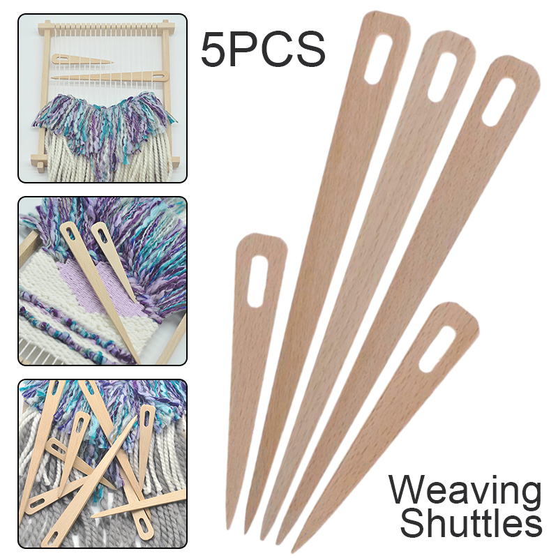 5pcs DIY Wooden Weaving Shuttle Hand Loom Stick Wooden Shuttle Tapestry Weaving Knit Handcrafts Tool for Making Sweater Scarf