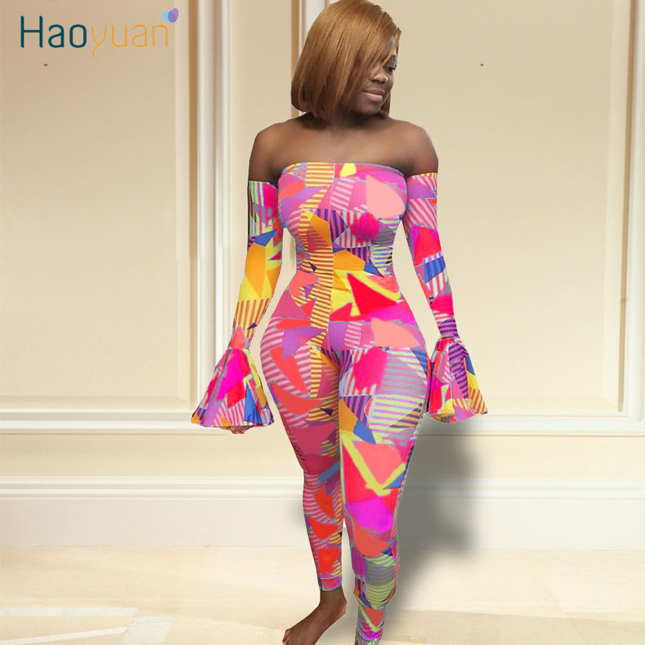 HAOYUAN <font><b>Sexy</b></font> Rompers Womens Jumpsuit Rave <font><b>Festival</b></font> Fashion Nova One Piece Outfit Body Overalls Off Shoulder Plus Size Jumpsuits image