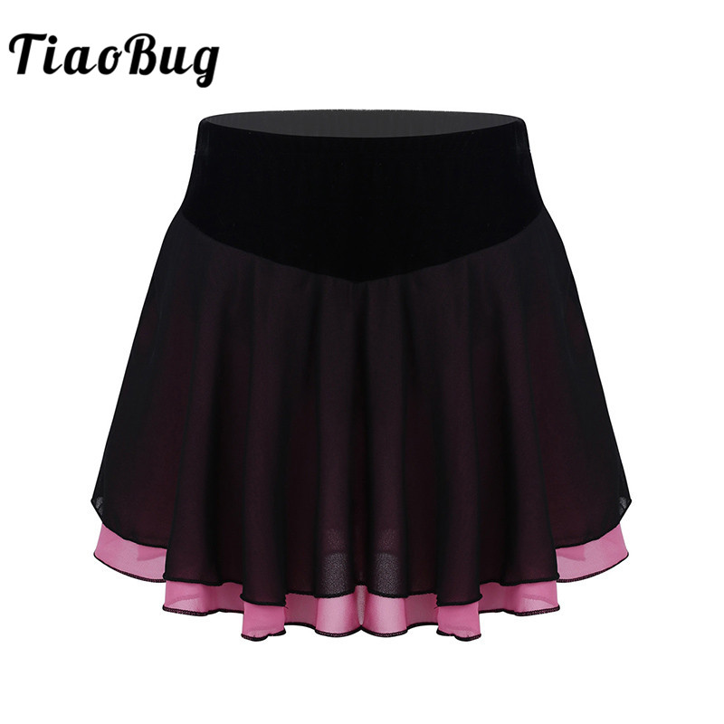 TiaoBug Girls Soft Lightweight Chiffon Figure Ice Skating Training Skirt For Kids Ballet Leotard Stage Performance Dance Costume