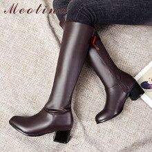 цена на Meotina Winter Riding Boots Women Boots Bow Thick High Heels Knee High Boots Zipper Round Toe Shoes Ladies Autumn Big Size 33-46
