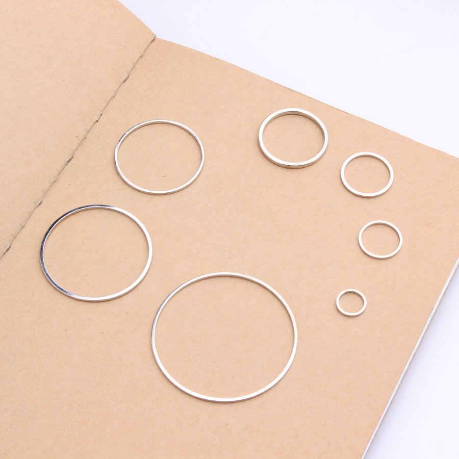 20 Buah/Banyak Rhodium Cincin untuk Diy Anting-Anting Membuat Tembaga Bulat Lingkaran Anting-Anting Liontin Perhiasan Temuan