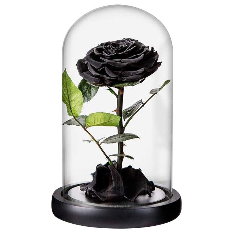Rosas de Rosa Negro preservadas hechas a mano flor seca Real rosa en cúpula de cristal, rosas preservadas nunca se marchitan regalos románticos para 2019 Popular anillo de arena vietnamita abierto de oro para mujeres delicado flor 3D No se decolora anillos de nudillos de puño chapado para mujeres bienes inusuales