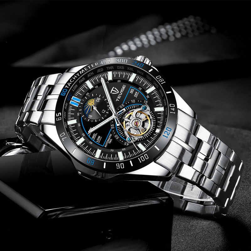 Tevise luxe Tourbillion montres mécaniques en acier inoxydable squelette Montre automatique hommes mode Sport Montre horloge Montre Homme