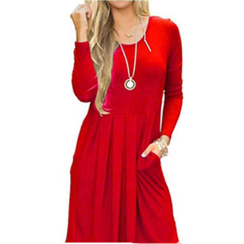 2019 осеннее платье-трапеция Для женщин зимнее платье Повседневное Красного/темно-синего цвета свободные вечерние платье Для женщин платье с длинными рукавами и круглым вырезом женские новые YXBD0