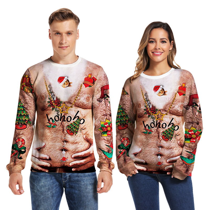 Ugly Christmas Sweater Men/women Couple 3D Print Pull Homme Loose Pullover New Year Cosplay Winter Tops Men Clothes Kersttrui