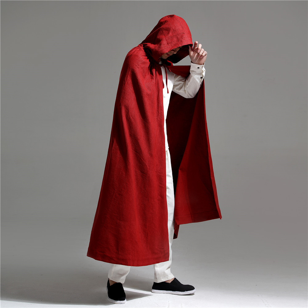 Fashion Long Red Hooded Cloak Men Chinese Style Cotton Linen Mens   Trench   Coat High Quality Loose Casual Ponchos and Capes Male