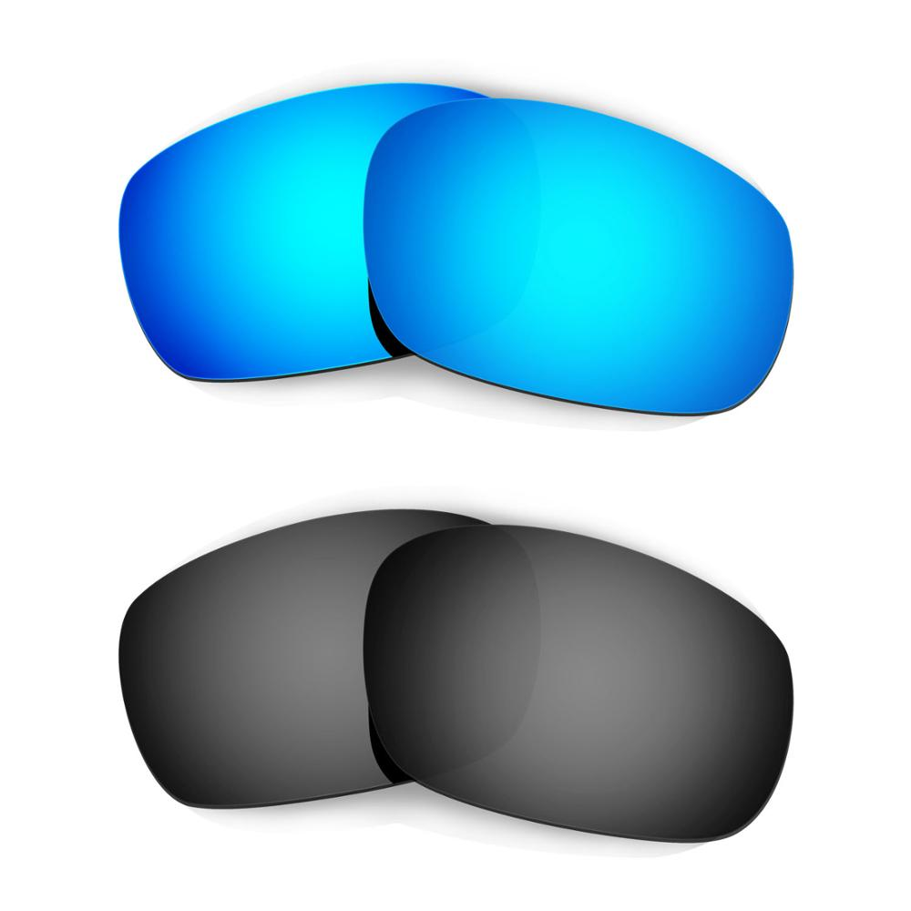 HKUCO For Jawbone (Asian Fit) Sunglasses Replacement Polarized Lenses 2 Pairs - Blue & Black