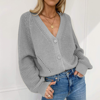 Women Knitted Cardigan 2020 Autumn Winter Lantern Sleeve Single-breasted Sweater Tops Solid V-neck Long Sleeve Knitwear solid guipure lace lantern sleeve sweater long sleeve sweater women top