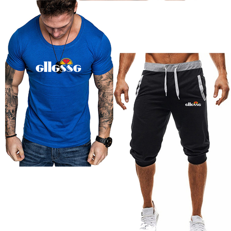 Summer Two Pieces Sets Men's Casual Tracksuit Brand Men Print Sportswear T-Shirts Sets Mens T-shirt+shorts Fitness Gym Suits