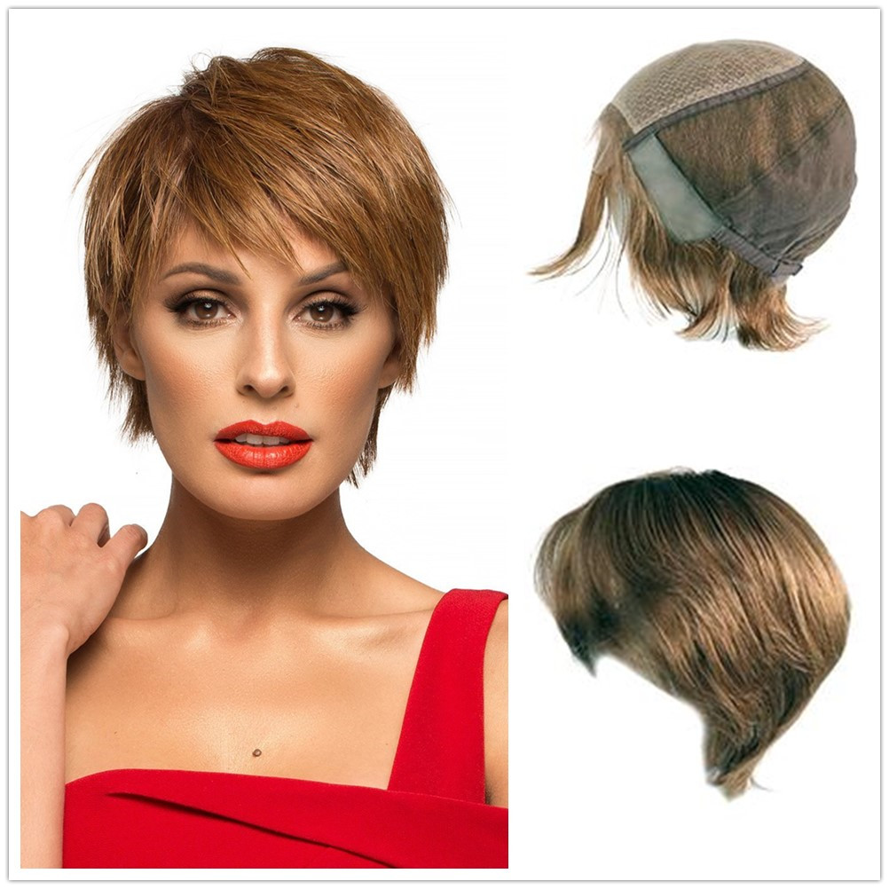 Hstonir 14.5 Inch European Remy Hair Peruka Perruque Femme Juif Bob Lace Front Wigs Natural Black Blond Silktop Wig G016