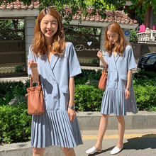 Korean Women Summer Blue Blazer Pleated Dress Female Loose Plus Size Double Breasted Vestidos