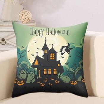 Funda de cojín de Noche De Luna mágica con Gato bonito, funda de almohada de nuevos sueños, funda de almohada de baile de Halloween con bosque Esmeralda y brujas
