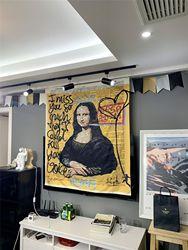Гобелен с граффити Мона Лиза, настенный пляжный коврик в богемном стиле, полиэстеровое одеяло, коврик для йоги, домашняя спальня, художестве...
