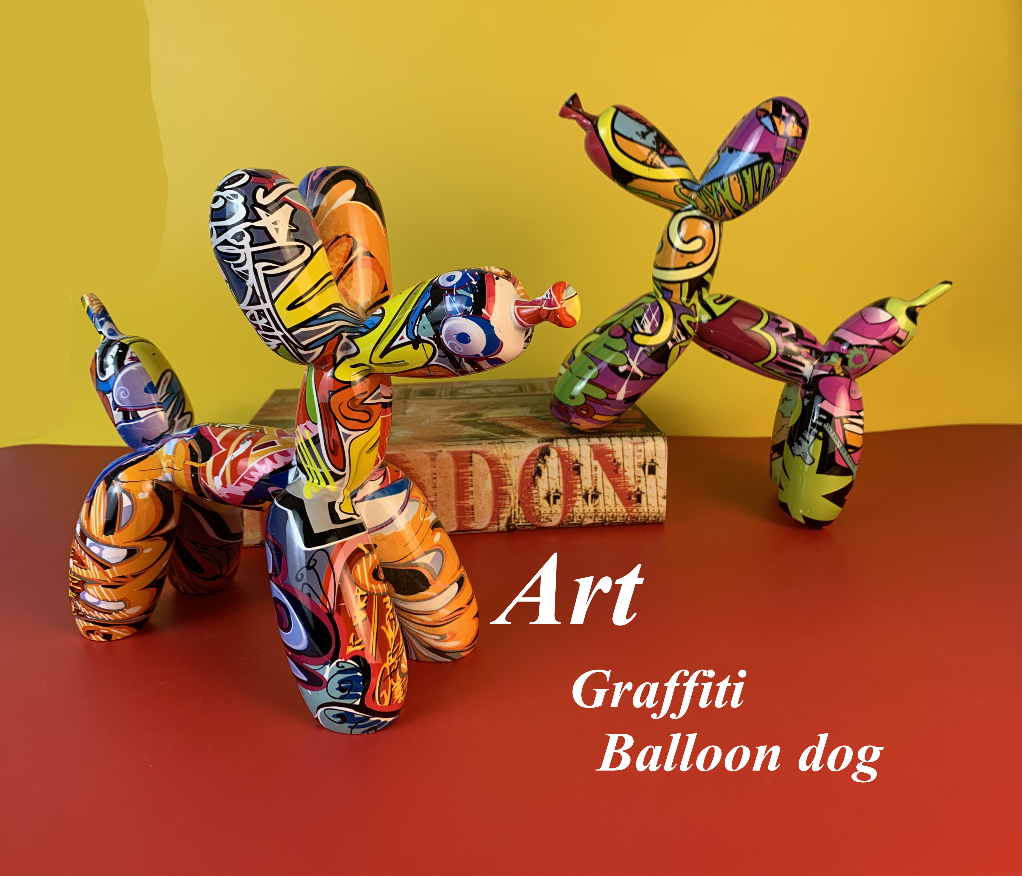 Art Graffiti Balloon Dog Simple Creative Art Color Resin Dog Decorations Home Entrance Wine Cabinet Office Ornaments Crafts