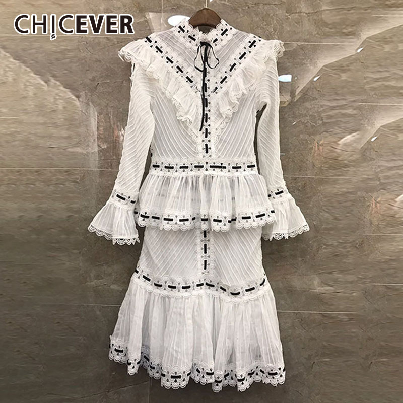 CHICEVER Autumn Ruffles Patchwork Hollow Out Women Set Flare Sleeve T Shirt Elastic Waist Skirts Female Suit Fashion New Clothes