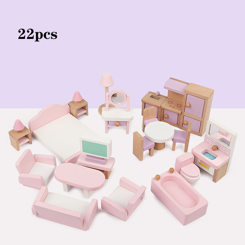 22pcs Miniature Furniture For Dolls House Wooden Dollhouse Furniture Set Educational Pretend Play Toys Children Kids Girls Gifts