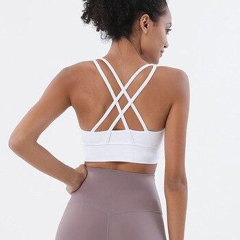 SOISOU Nylon Top Women Bra Sexi Top Woman Breathable Underwear Women Fitness Yoga Sports Bra