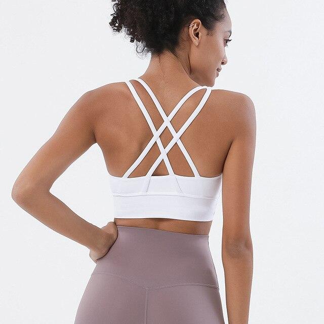 SOISOU Nylon Top Women Bra Sexi Top Woman Breathable Underwear Women Fitness Yoga Sports Bra For