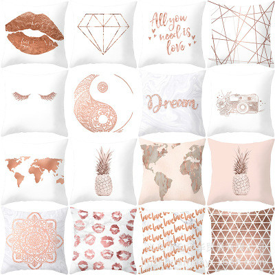 Decorative Throw Pillow Cover Rose Gold Square Cushion Cover Pillow Case Nordic Style For Living Room/ Sofa/ Bed/ Home  45X45cm