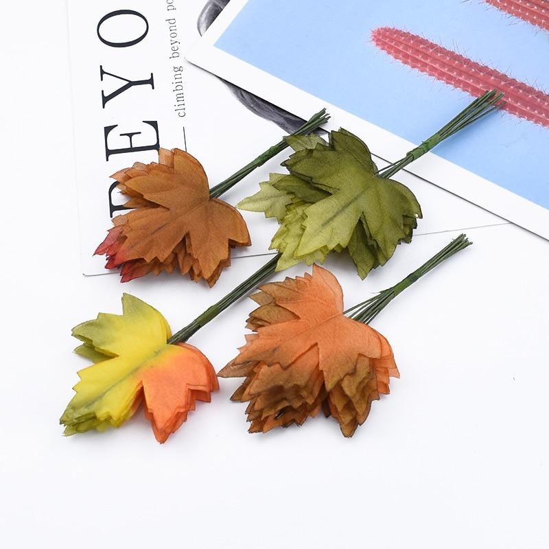 12/24/36 Pieces Decorative Flower Wreaths Diy Gifts Box Cheap Artificial Plants Home Wedding Decoration Maple Leaf Bride Brooch
