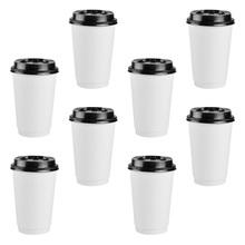 50 szt Jednorazowe kubki do kawy izolacja na wynos dwuwarstwowy kubek papierowy z pokrywką (8 uncji 280ml) tanie tanio AE (pochodzenie) Z tworzywa sztucznego