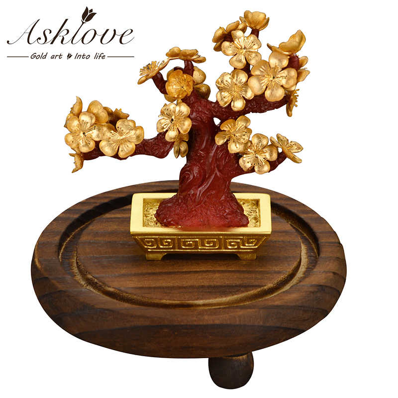Feng shui Lucky Bonsai Artificial plants 24K Gold foil Ornaments Fortune Plum tree Luxury Gifts crafts Desktop Home decoration