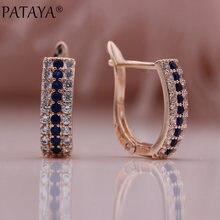 PATAYA – boucles d'oreilles carrées en Zircon naturel pour femmes, nouveauté, bleu, or Rose, cadeau de fiançailles romantique, bijoux fins à la mode, 585