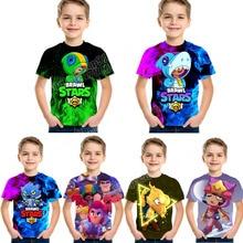 Brawling Stars Short-sleeved T-shirt Boys Clothes Children Clothing 3D Digital Printing Fashion Style Summer Loose Shirts Gift