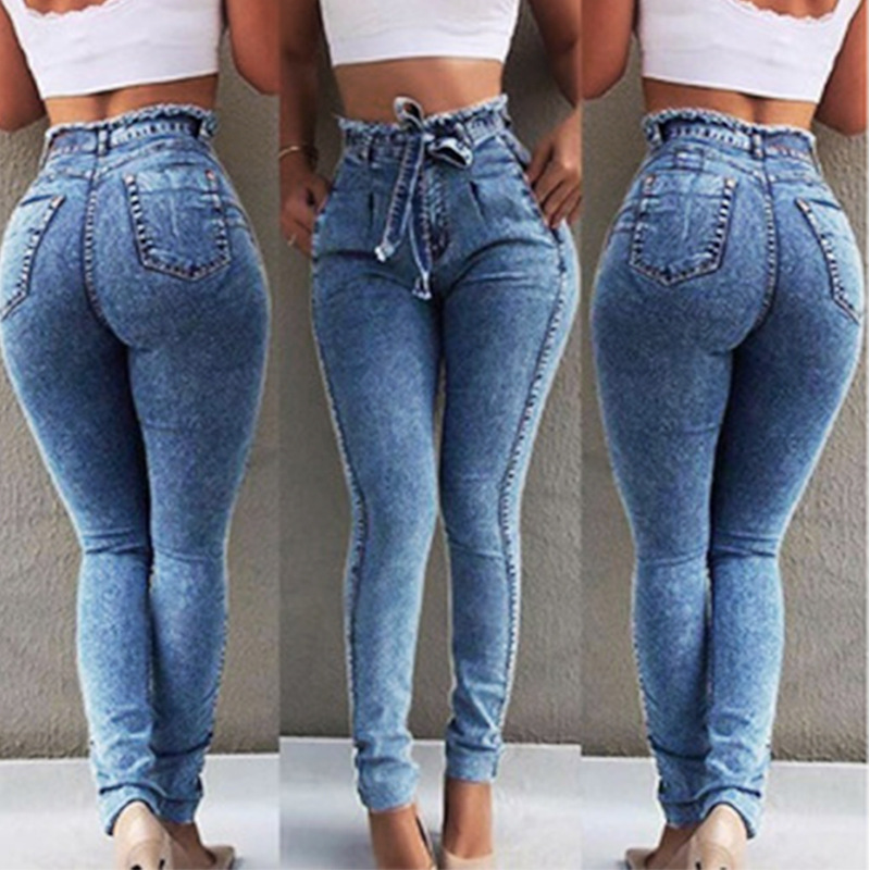 2019 New High Waist Jeans For Women Slim Fit Stretched Denim Jeans Bodycon Tassel Belt Bandage Skinny Push Up Jeans Woman