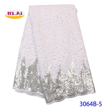 NIAI White Sequins Lace Fabric 2019 High Quality Lace Nigerian Lace Fabric For Women Dress African Tulle Lace Material XY3064B-5