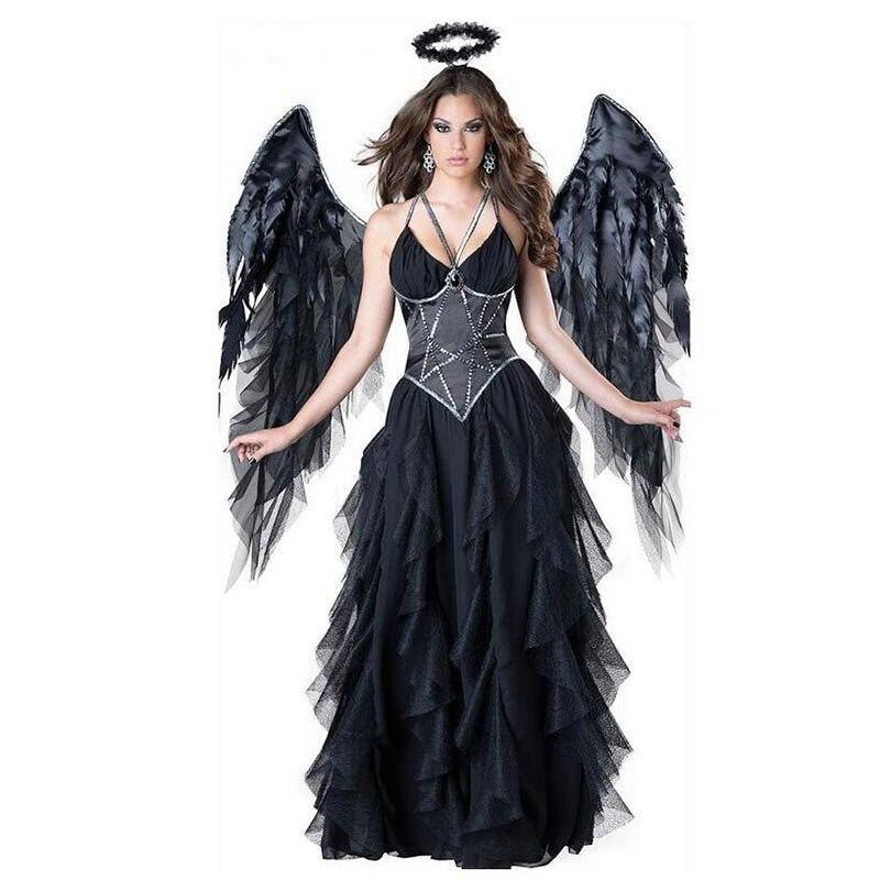 Novo preto diabo caído anjo traje adulto halloween strapless vestido + headwear asa gótico sexy anjo cosply trajes para mulher