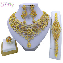Liffly African Fashion Jewelry Sets Flower Necklace Bracelet Party Elegant Women Earrings Ring Crystal Jewelry Wedding Gift