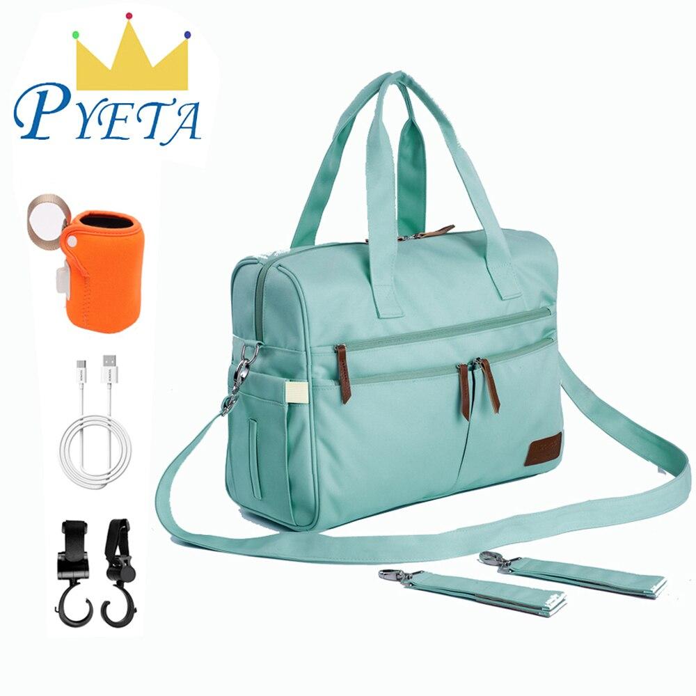 PYETA Baby Diaper Bag Messenger Shoulder Bag Maternity Bag Nappy Bag Mommy Bag With Rechargeable Bottle Holder