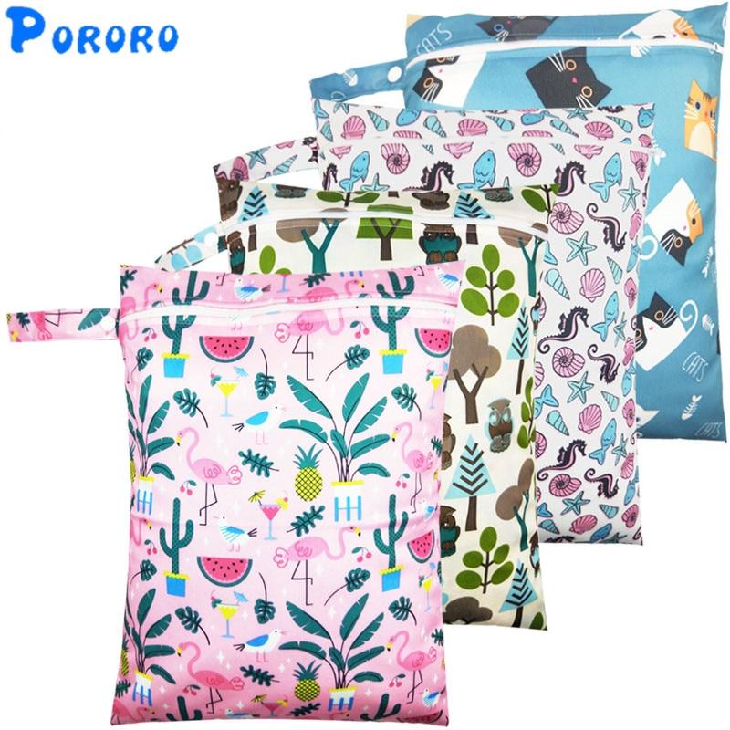 DIAPER WET BAG Nappy Printed Bags Travel Wet Dry Bags Diaper Bag Swimwear Organiser Reusable Free Shipping Size 25x20cm