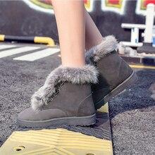 FEVRAL Botas de nieve de piel para mujer, botines cálidos de algodón para exterior, resistentes al desgaste