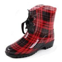 Botas de lluvia transparentes con cordones para mujer, zapatos impermeables con estampado floral, para jardín, XKD2182