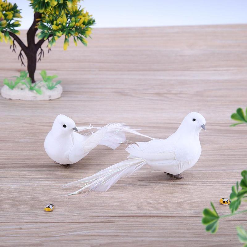 2 шт., декоративные голуби из пенопласта с белыми перьями