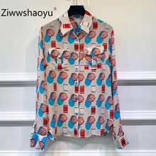 Ziwwshaoyu 2019 New Autumn High End 100% Silk Blouse Shirt Womens Long Sleeve Colorful Print Fashion Elegant Party Tops