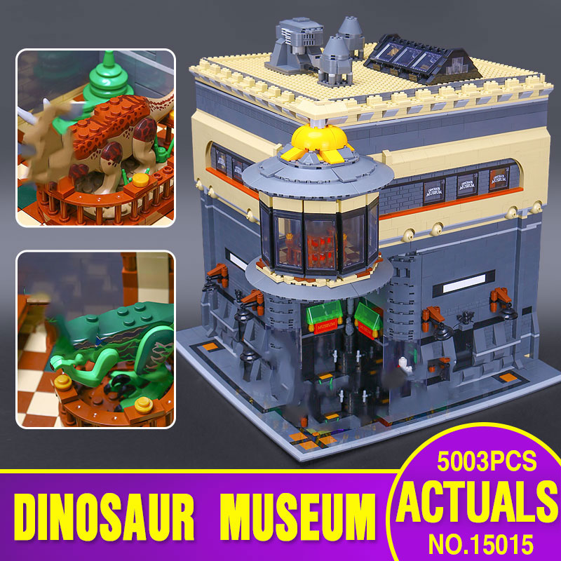 Lepining 15015 MOC Street Building Toys The Dinosaur Museum Assembly Kits Set Kids Christmas Toys Gifts Building Blocks Bricks