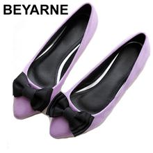 BEYARNEDrivingกระเป๋ารองเท้าผู้หญิงแบนรองเท้าสุภาพสตรีรองเท้าแตะสีดำและสีม่วงโบว์PLUSขนาดใหม่ARRIVAL SLIPสำหรับPARTY