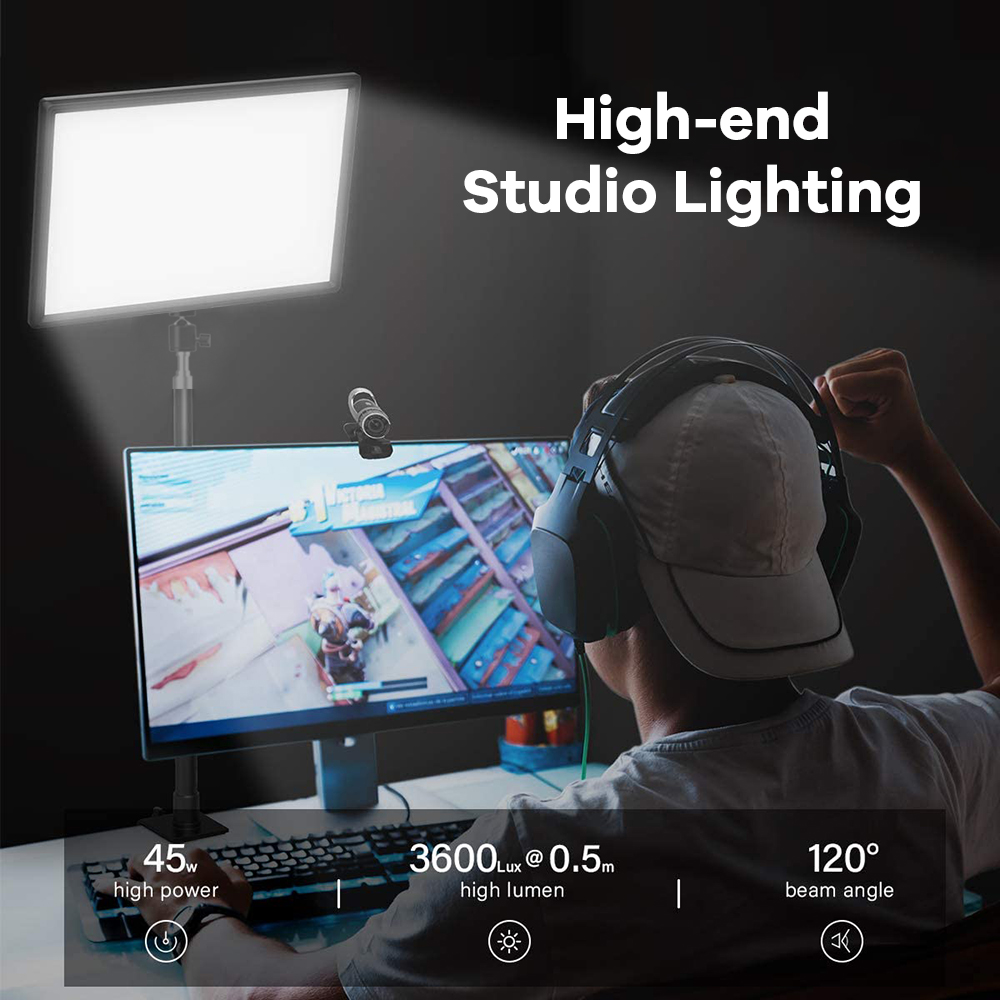 H01984691ad774d37b39507166f988e5cM Dimmable LED Video Light Panel EU Plug 2700k-5700k Photography Lighting For Live Stream Photo Studio Fill Lamp Three Color