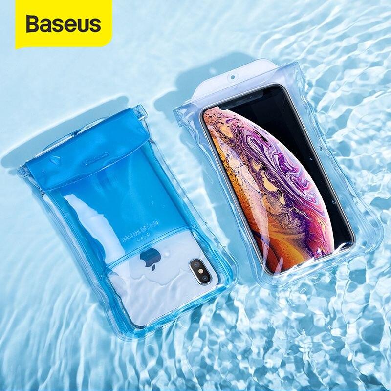 Baseus ip68 à prova dip68 água caso para o iphone x xr xs max 8 7 p30 samsung s10 bolsa de telefone saco airbag natação caso de telefone capa