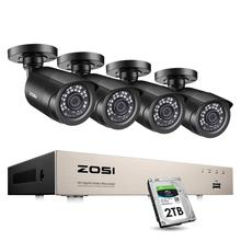 ZOSI Home Security System H.265+ 8CH 5MP Lite DVR 4/8pcs 2.0MP 1080p Night Vision Outdoor Surveillance Waterproof Camera Kits