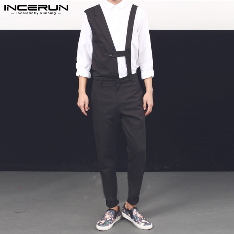 INCERUN Fashion Men Jumpsuit Solid Chic Sleeveless 2020 Overalls Streetwear Party Club Casual Irregular Rompers Men Pants S-5XL