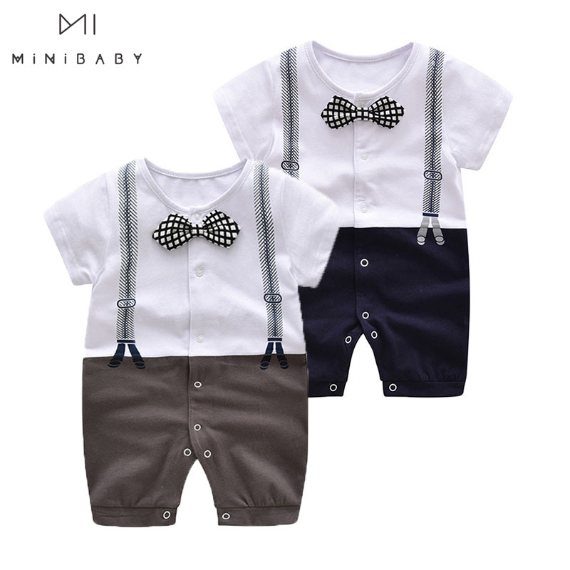 Newborn Baby Boy Costumes Summer New Arrival Short Sleeve Tie Gentleman Jumpsuit O-neck Cute Rompers For Baby Toddler Outfit