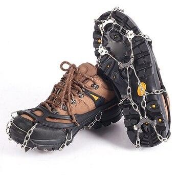 Cubierta de 10 dientes para zapatos de hielo y nieve, cubierta de cadena de acero inoxidable para escalada, cubierta para zapatos de tracción en forma de esponja, férula para nieve